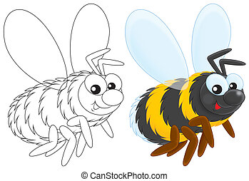 Bumble bee flying, color illustration and black and white outlined drawing on a white background