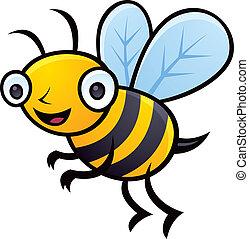 Cartoon vector illustration of a happy little bumblebee flying.