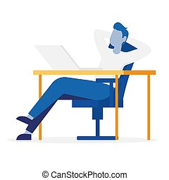 Relaxing businessman sitting on office chair at a computer desk. Front view. Color vector cartoon illustration