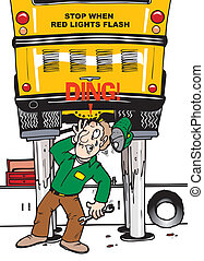 bump head - A man servicing a school bus hitting his head
