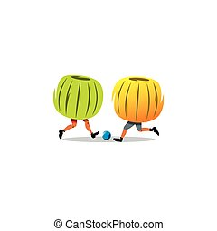 Bumper Ball. Sport game. Vector Illustration. - Two people...