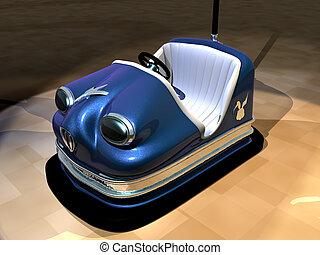 Bumper Car - A retro, sparkly blue, amusement park bumper...