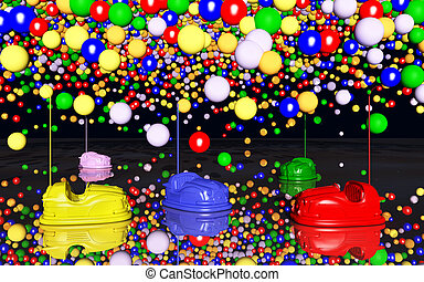 Bumper cars and toy balloons - Computer generated 3D...