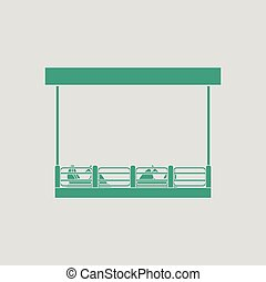 Bumper cars icon. Gray background with green. Vector...