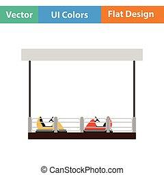 Bumper cars icon. Flat design. Vector illustration.