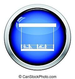 Bumper cars icon. Glossy button design. Vector illustration.