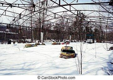 bumper cars - abandoned bumper cars