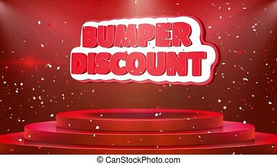 Bumper Discount Text Animation Stage Podium Confetti Loop...