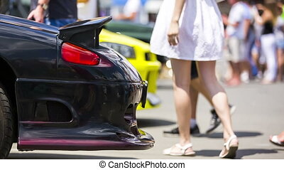 Bumper of a Black Car At Exhibition - Side shot of a black...