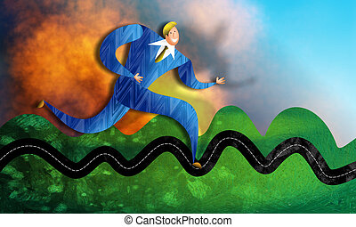 Bumpy Business - A textured digital illustration of a...