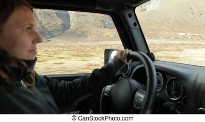 Bumpy ride in an offroad vehicle - Driving a 4x4 vehicle on...