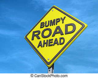 """A yield road sign with """"Bumpy Road Ahead"""""""