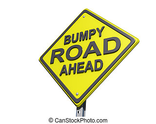 Bumpy Road Ahead Yield Sign White Bg - A yield road sign...