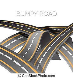 Bumpy road icon uneven dangerous wave path with marking...