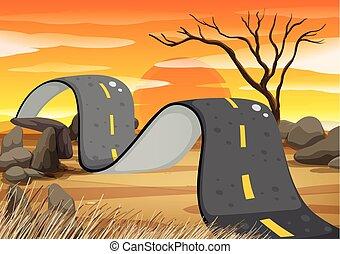 Bumpy road in the field