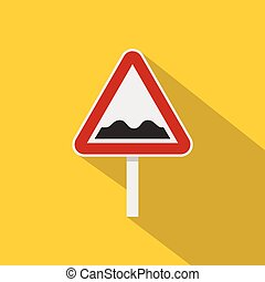 Bumpy road sign icon, flat style - Bumpy road sign icon....