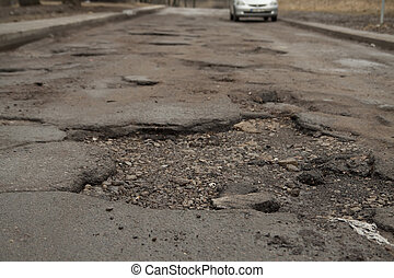 bumpy road - Wrecked road in the city centre