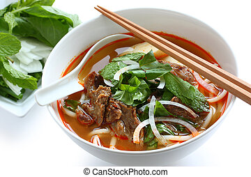 bun bo hue - a bowl of beef & rice vermicelli soup, ...