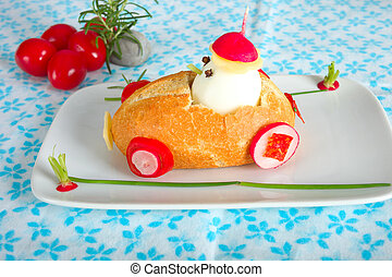 Funny bun car for kids with egg driver.