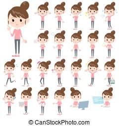 Bun hair mom Pants style - Set of various poses of Bun hair...