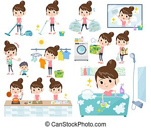 A set of women in sportswear related to housekeeping such as cleaning and laundry. There are various actions such as cooking and child rearing. It's vector art so it's easy to edit.