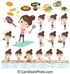 Bun hair mom sportswear_cooking - A set of women in...