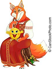 Fox keeps Bun lap. Isolated on white background.