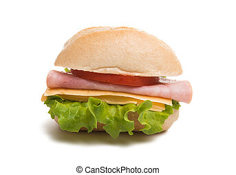 Bun with cheese and ham isolated
