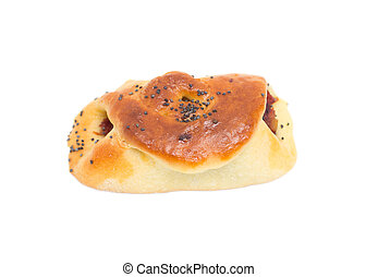 bun with jam on a white background