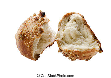 bun with nuts on white background