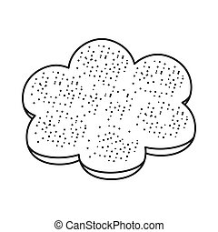 Bun with poppy seeds icon in outline style isolated on white background. Bread symbol stock vector illustration.
