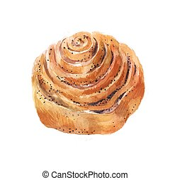 Bun with poppy seeds. Watercolor illustration on a white background. Hand drawn sketch