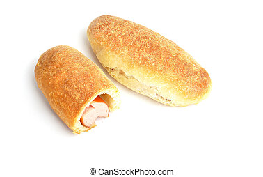 bun with sausage on white background