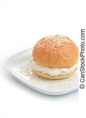 Bun with sesame and fresh cottage cheese