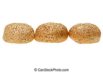 bun with sesame seeds isolated
