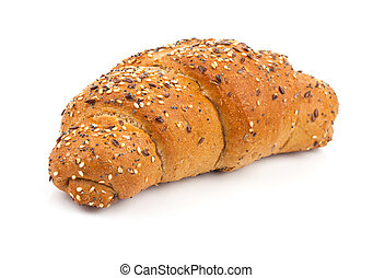 bun with sesame seeds on white background