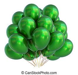 bunch., balão hélio, aniversário, verde, partido, balões