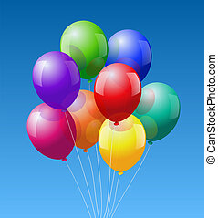 A bunch of eight colorful realistic looking balloons - vector on blue sky background.