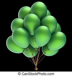 bunch., classique, hélium, décoration, vert, fête, ballons