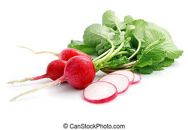 bunch fresh radish with cut isolated on white background
