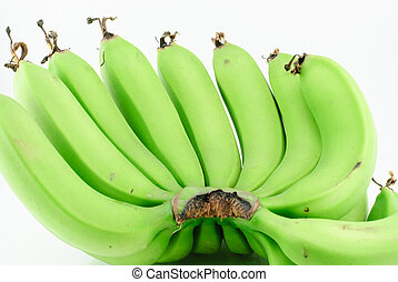 Bunch Green banana isolated on white background
