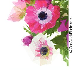 bunch of anemone flowers - Low poly illustration bunch of...