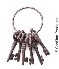 bunch of antique keys isolated on white background