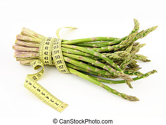 Bunch of asparagus isolated on white background