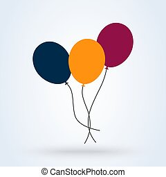 Bunch of balloons in cartoon flat style. Simple vector modern design illustration.