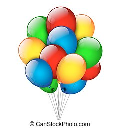 Bunch of balloons on a white background.