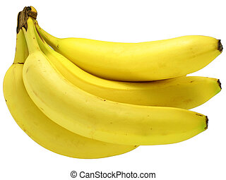 Fresh bunch of bananas on white background.