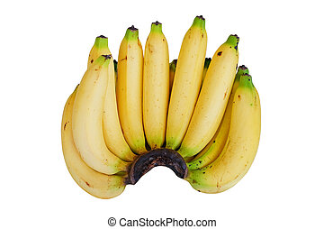 Bunch of bananas isolated on white with Clipping Path