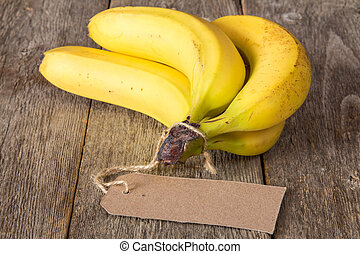 Bunch of bananas with tag