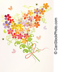 Bunch of beautiful spring flowers with bees and butterflies